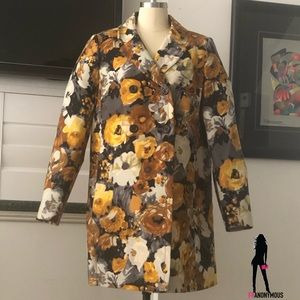 J Crew Wool and Silk Floral Print Coat
